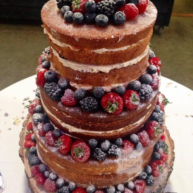 Naked Wedding Cake Sudbury, Suffolk – Alpheton Hall Barns, 5th September 2015