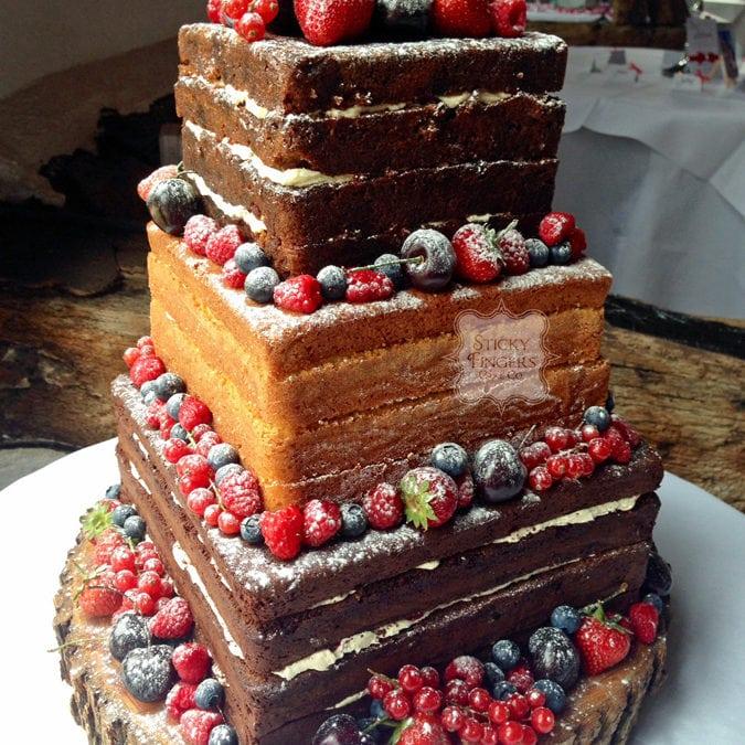 Naked Wedding Cake Sudbury Suffolk – Smeetham Hall Barn, 30th July 2015