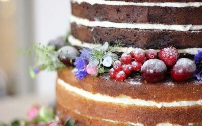 Naked Wedding Cake at Houchins Farm…
