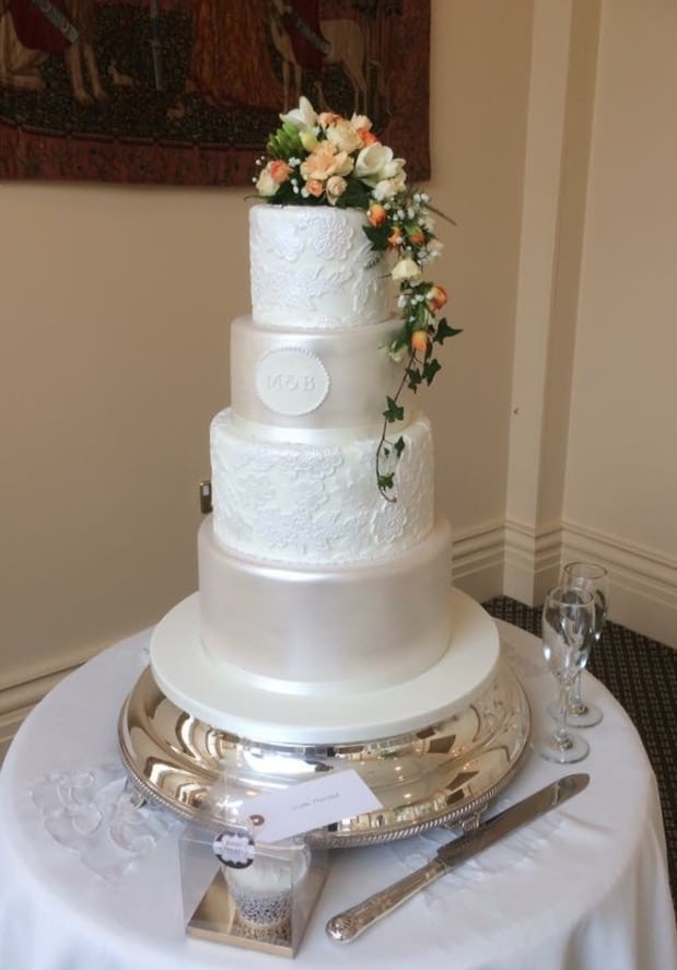 Lace Wedding Cake Rochford Essex The Lawn 11th March 2017 - Lace Wedding Cakes