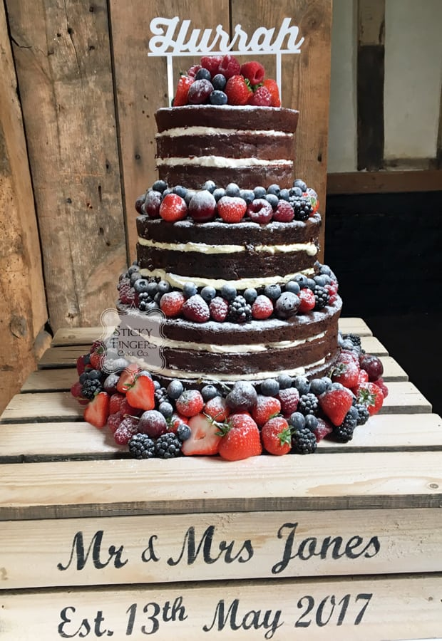3 Tier Naked Wedding Cake, Ongar, Essex – Blake Hall, 13th May 2017