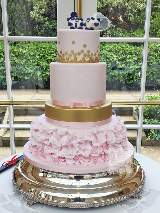 4 Tier Blush Pink and Gold Wedding Cake, Rochford, Essex – The Lawn, 13th May 2017