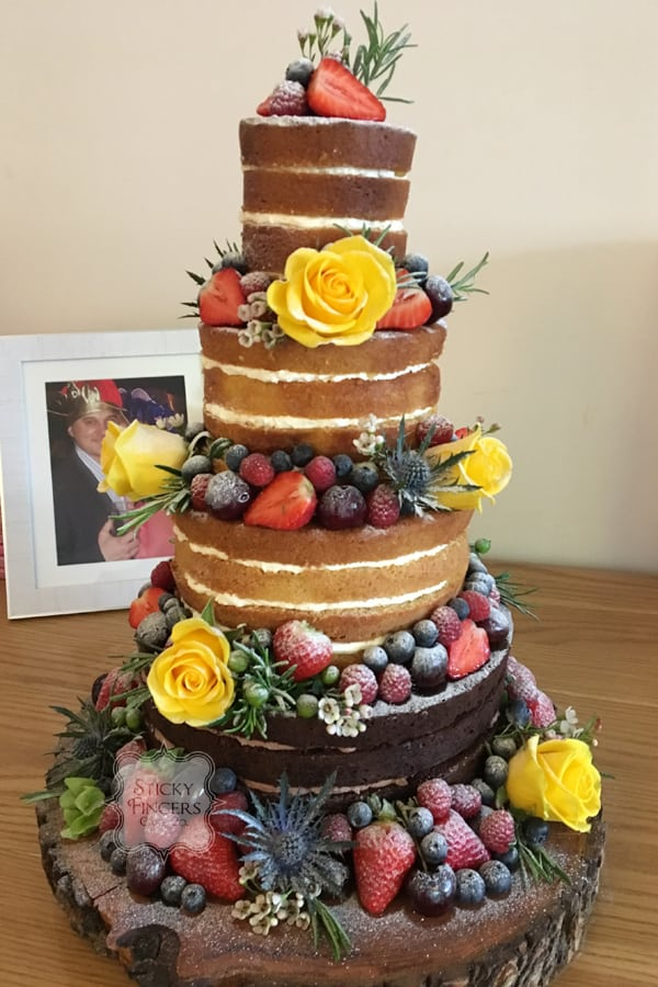 4 Tier Naked Wedding Cake, Leigh on Sea, Essex. Saturday 10th June 2017