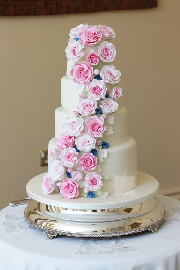 4 Tier Floral Cascade Wedding Cake, Rochford, Essex. The Lawn 17th June 2017