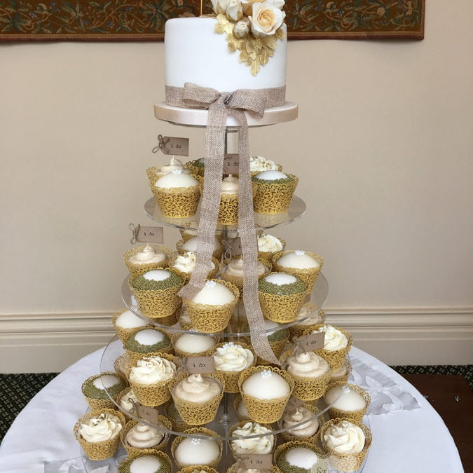 Rustic Cupcake Tower and Cutting Cake, Rochford, Essex. The Lawn, 24th June 2017