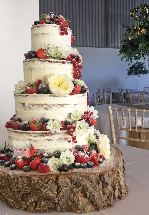 3 Tier Naked Wedding Cake - The Freight House, Rochford
