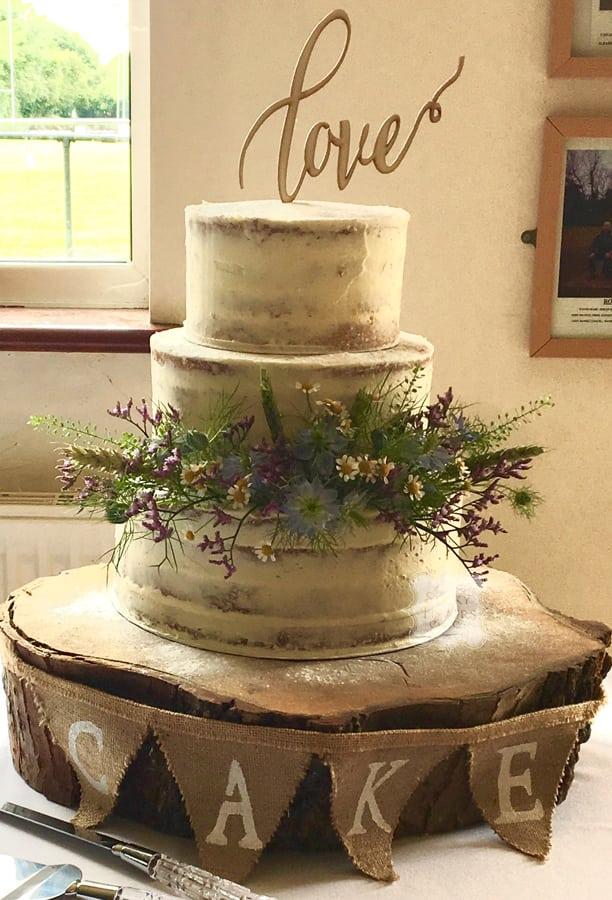 3 Tier Semi Naked Wedding Cake, Rochford, Essex. Rochford Rugby Club, 30th June 2017