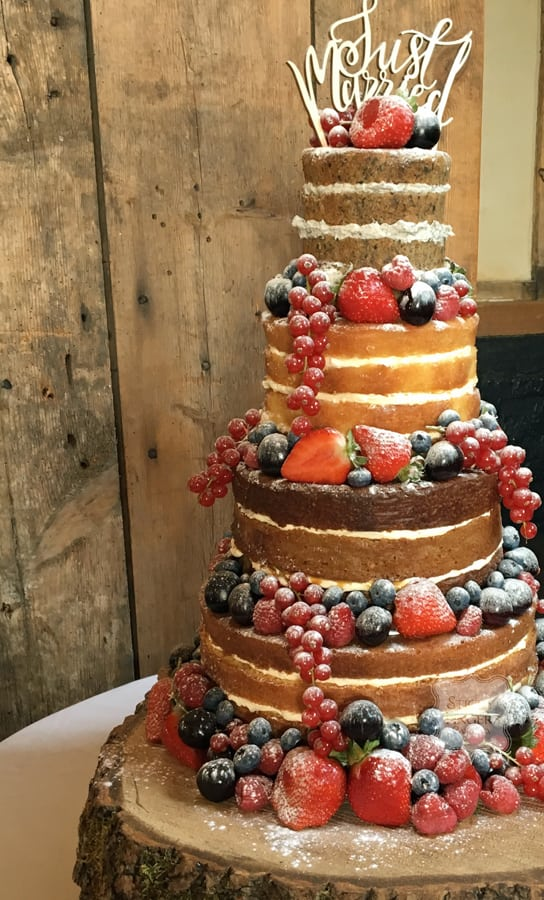 4 Tier Naked Wedding Cake, Ongar, Essex – Blake Hall, 14th August 2017