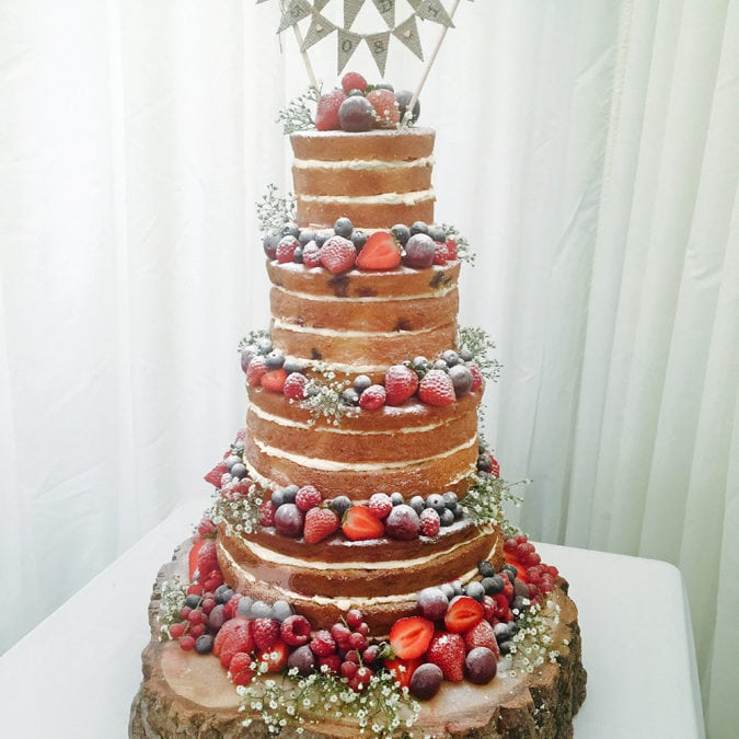 4 Tier Naked Wedding Cake, Chelmsford, Essex – High House, 5th August 2017