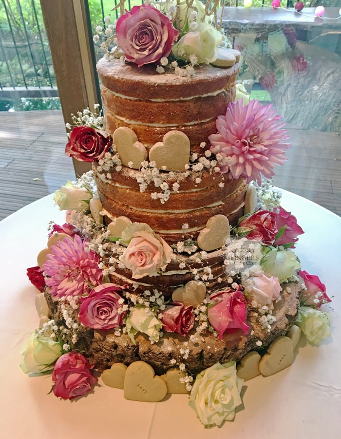 3 Tier Naked Wedding Cake, Navestock, Essex – Old Brook Barn, 26th August 2017