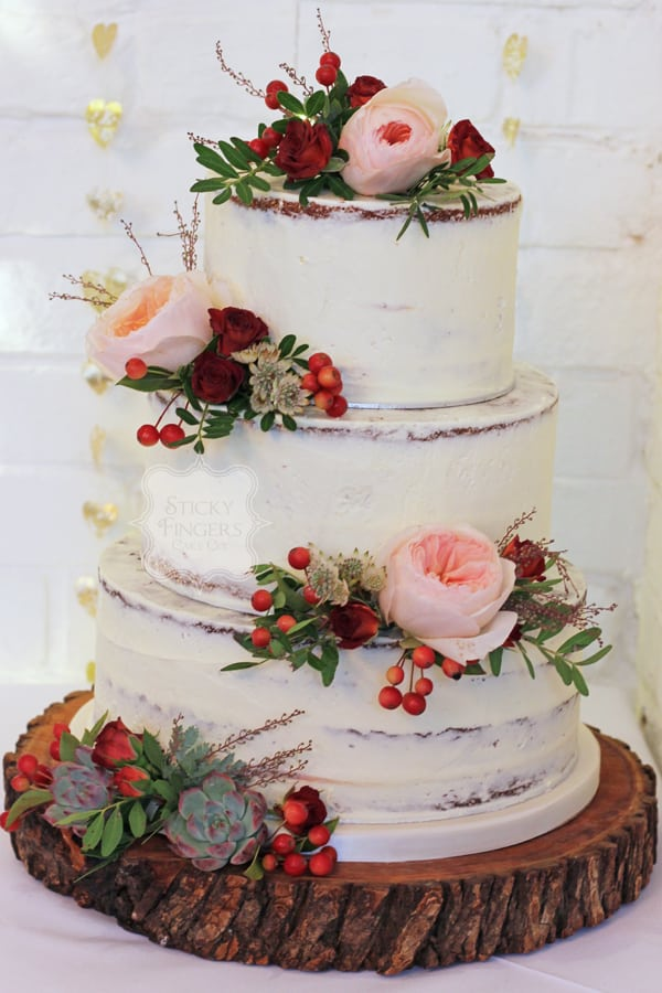 3 Tier Semi Naked Wedding Cake, Rayleigh – The Old Parish Rooms, 7th October 2017