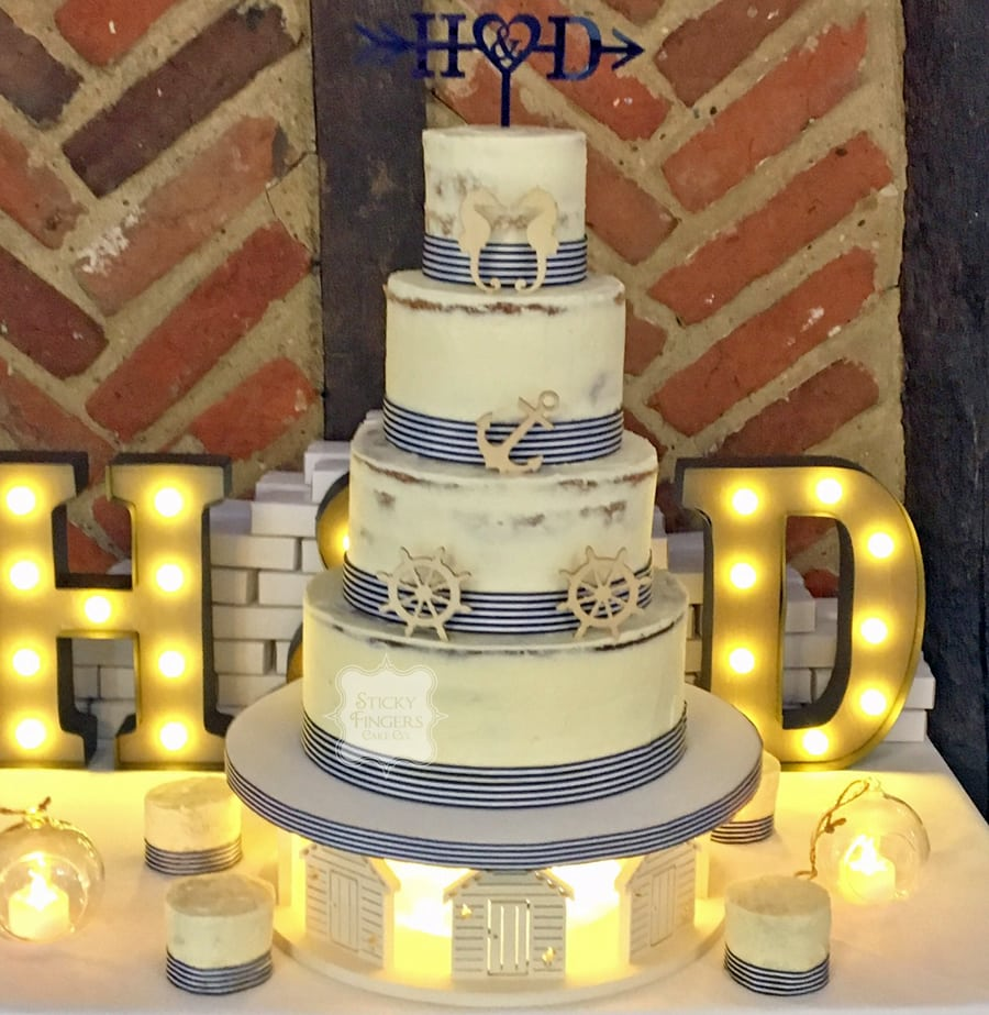 4 Tier Semi Naked Wedding Cake – Ye Olde Plough House, 24th November