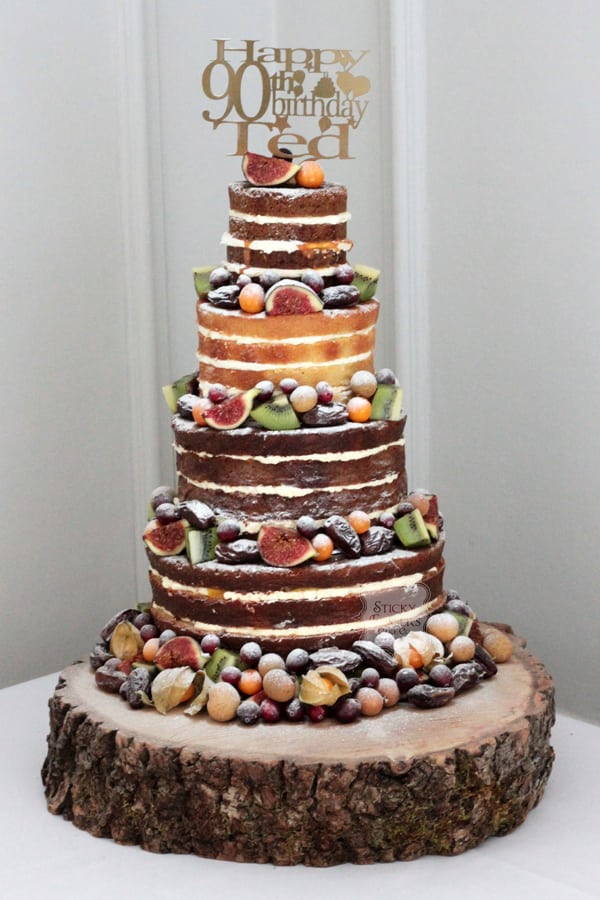 4 Tier Naked Cake with Autumn Fruits for the Lovely Ted!