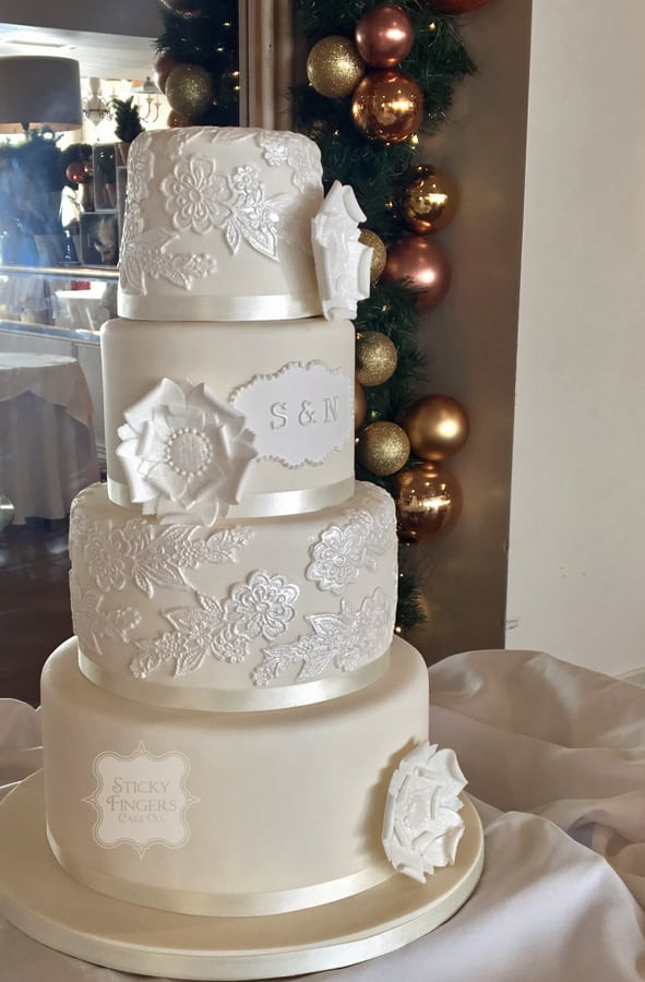 4 Tier Wedding Cake, Southend-on Sea – Roslin Beach Hotel, 28th December 2017