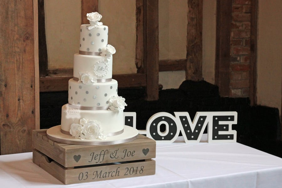 4 Tier Iced Wedding Cake, Ongar – Blake Hall, 3rd March 2018