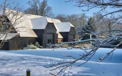 Blake Hall Wedding Cake and Snow… Lots of it!