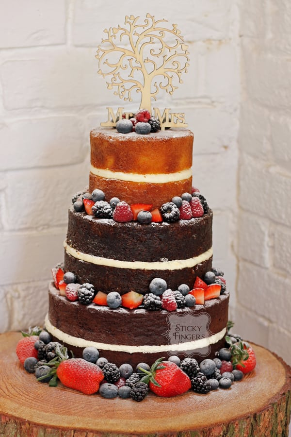 3 Tier Naked Wedding Cake, Rayleigh – The Old Parish Rooms, 4th May 2018