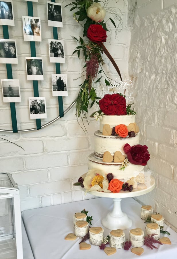 3 Tier Semi-Naked Wedding Cake, Rayleigh – The Old Parish Rooms, 27th May 2018