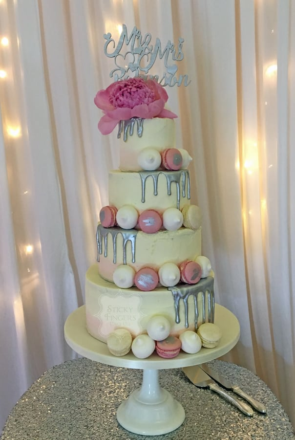 4 Tier Semi Naked Wedding Cake, Hullbridge Community Centre, 16th June 2018