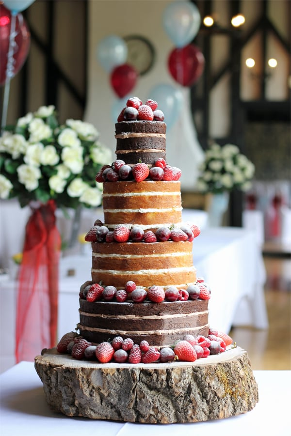 4 Tier Naked Wedding Cake, Romford – Maylands Golf and Country Club, 9th June 2018