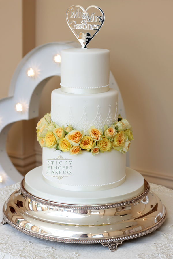 3 Tier Iced Wedding Cake, Rochford, 11th August 2018
