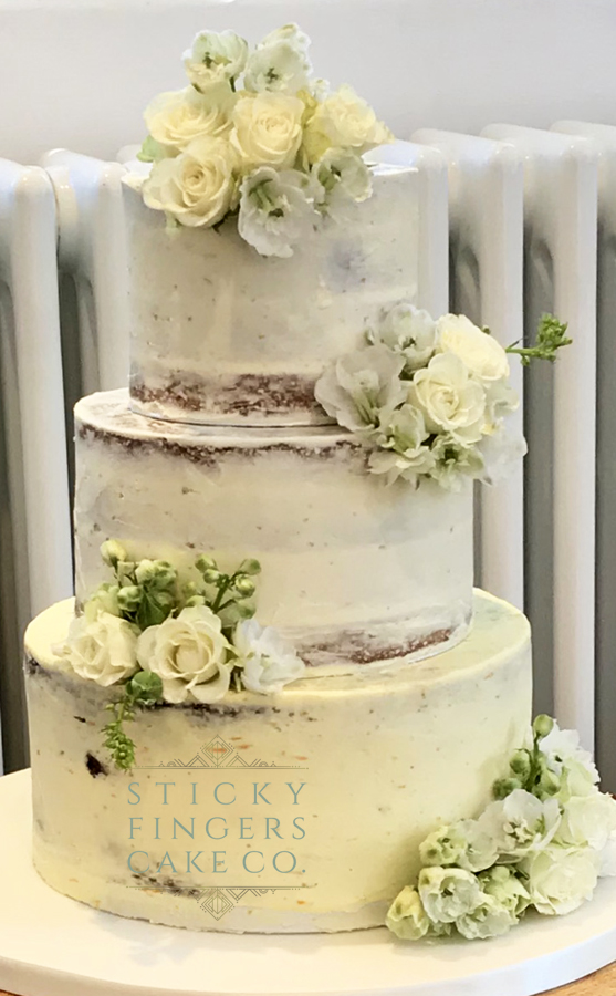 3 Tier Semi Naked Wedding Cake, Old Parish Rooms Rayleigh, 1st September 2018