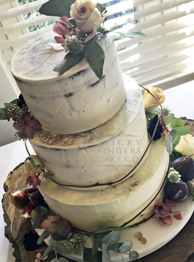 3 Tier Semi Naked Wedding Cake, Boreham, Chelmsford 29th September 2018