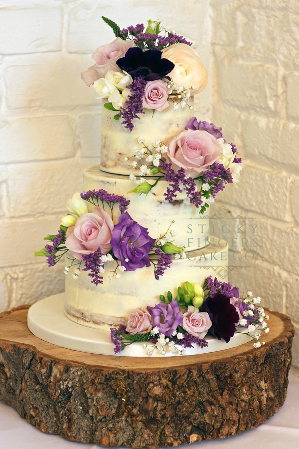 3 Tier Semi Naked Wedding Cake – The Old Parish Rooms, Rayleigh. 23rd March 2019