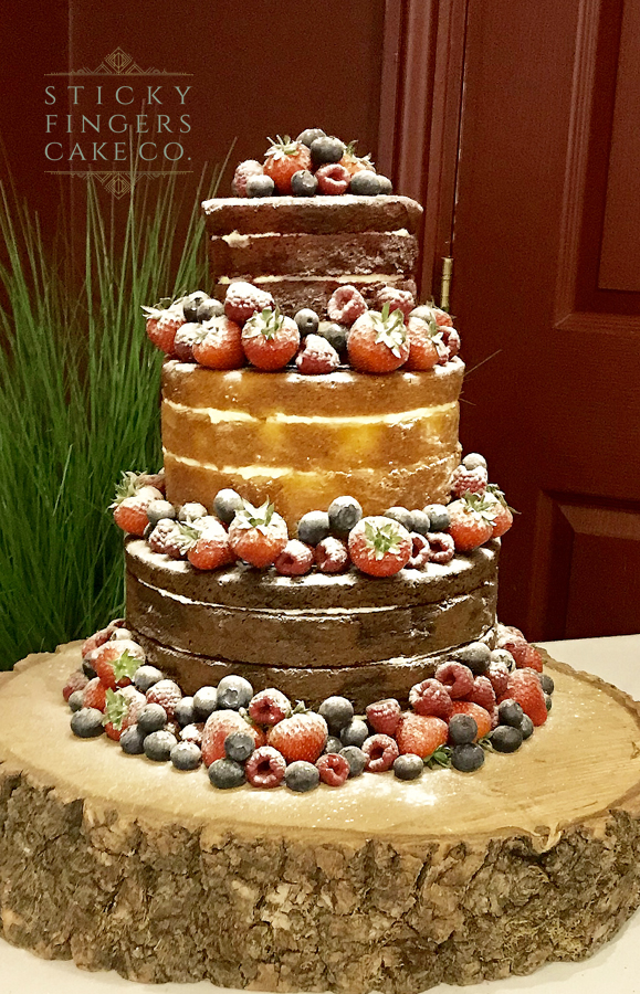 3 Tier Naked Wedding Cake – The Rochford Hotel, Rochford, 25th May 2019