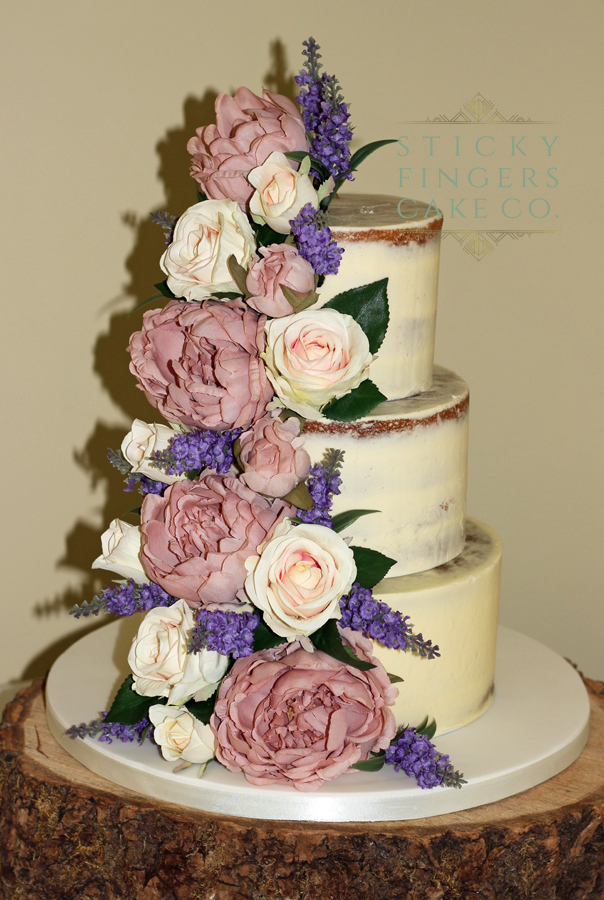 3 Tier Semi Naked Wedding Cake – The Rochford Hotel. 8th June 2019