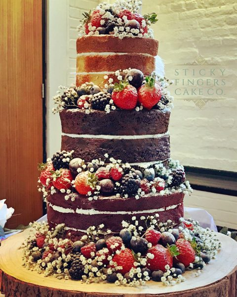 3 Tier Semi-Naked Wedding Cake, Rayleigh - The Old Parish