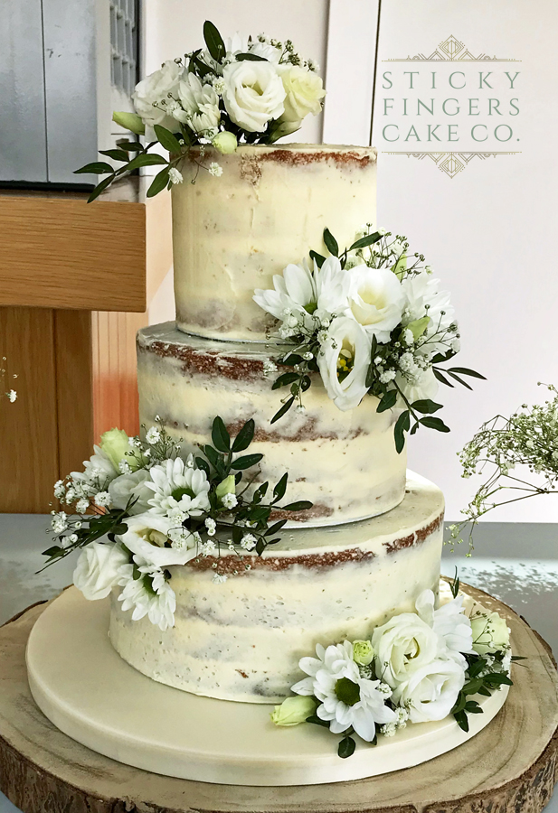 3 Tier Semi Naked Wedding Cake – Thorpe Bay Tennis Club, 22nd June 2019