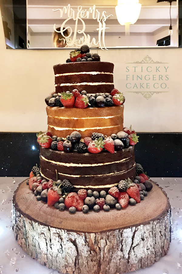 3 Tier Naked Wedding Cake, Leigh on Sea – The Arlington Ballroom, 3rd August 2019
