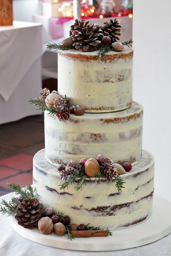 3 Tier Semi Naked Wedding Cake, Bulphan – Ye Olde Plough House, 29th November, 2019